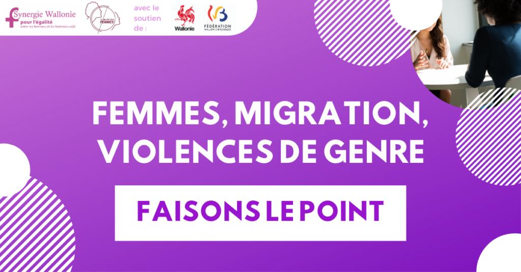 """Illustration montrant la liste des partenaires et le titre du colloque """"Femmes, migration, violences de genres : faisons le point"""""""